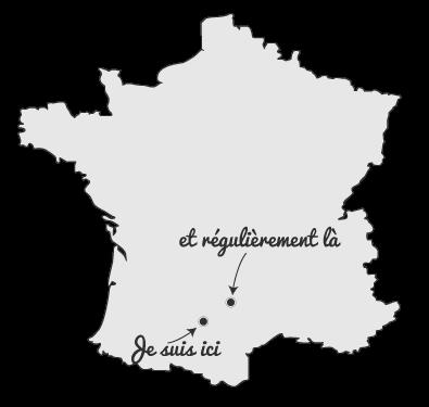 Carte de France montrant les lieux où je travaille pour prendre contact avec moi