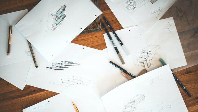 Image métaphorant les croquis de tous les logos réalisés